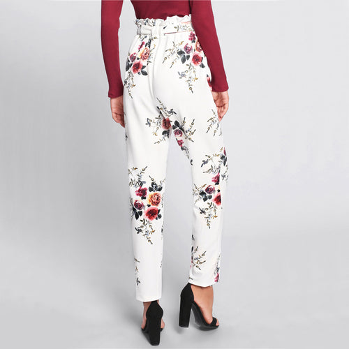 Women's High Waist White Trousers with Floral Print and Elastic Self Belted Frill Waist