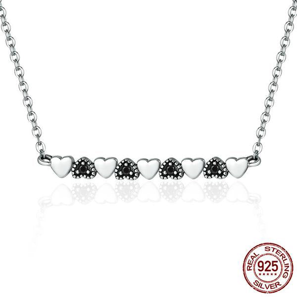 Cute Pendant with Contrast Hearts with Chain, Crafted from Silver