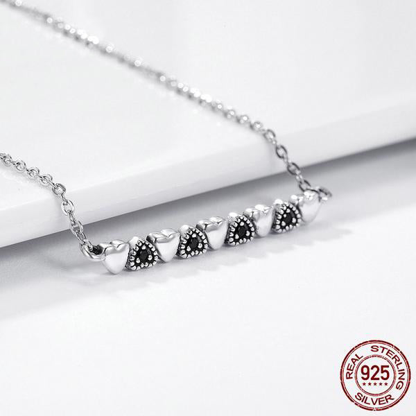 Cute Pendant Necklace with Contrast Hearts with Chain, Crafted from Silver