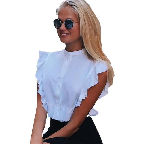 Women's Elegant and Sexy Sleeveless White Crop Top