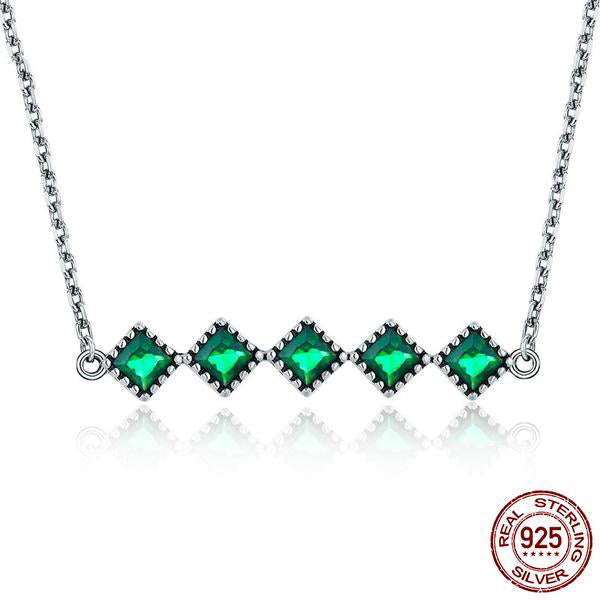 Elegant Designer Green Crystal Studded Silver Pendant with with Chain