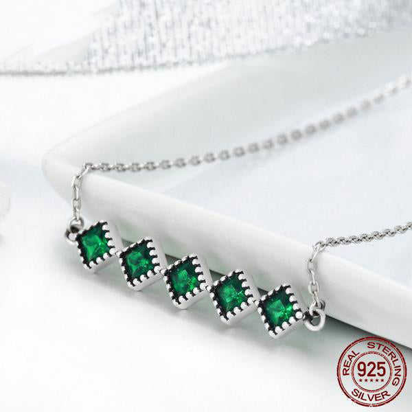 Unique Designer Green Crystal Studded Pendant with with Chain - Crafted from Silver