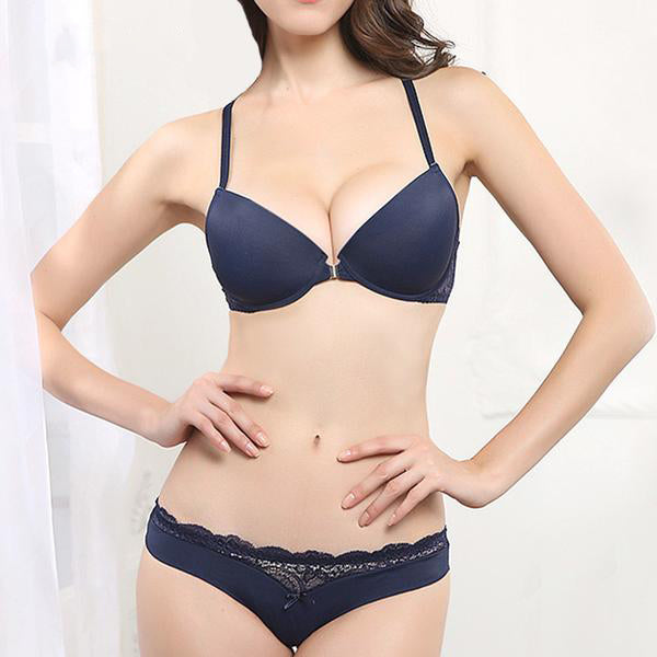 Front Closure Lace Push Up Bra and Panties Sets with Embroidery and Y-line Straps in 3 Colors