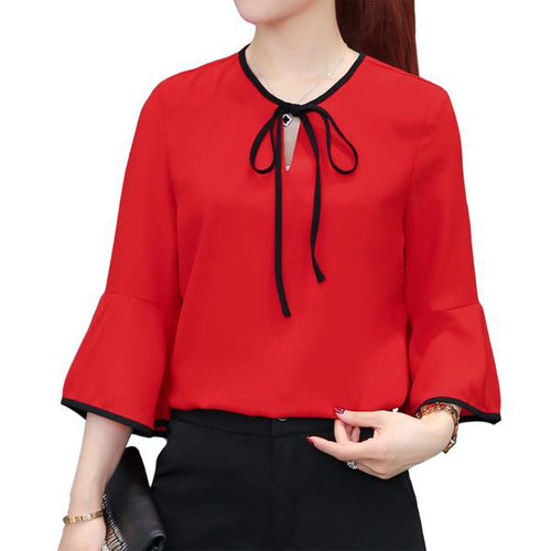 Women Long Ruffles Sleeve Chiffon Tops in Wine Red and White Colors in S to XXXL Sizes