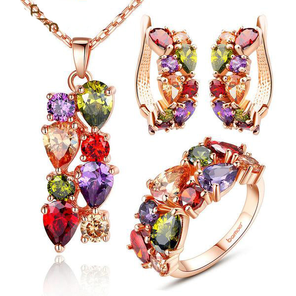 Eye Catching Jewelry Set Crafted with Rose Gold Plated Copper with Colorful Crystals