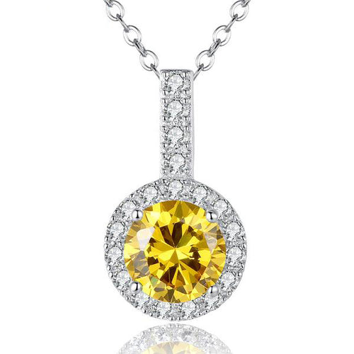 Gorgeous Platinum Plated Pendant Necklace with Elegant Clear and Yellow Crystal