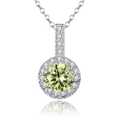 Gorgeous Platinum Plated Pendant Necklace with Elegant Clear and Green Crystal