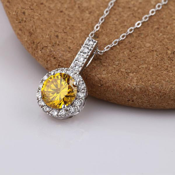 Beauty of Glittering Gemstones - Gorgeous Platinum Plated 2 Types of Pendant Necklace with Elegant Crystals