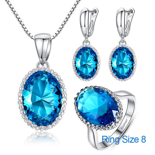 Luxury of Blue Topaz - Platinum Plated Jewelry Set with Big Gemstone like Crystals