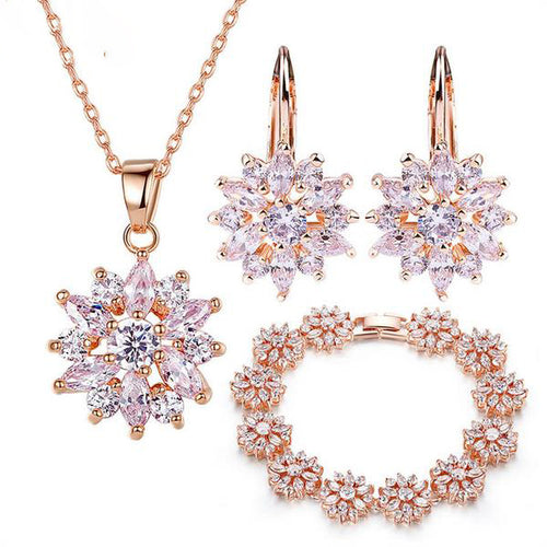3 Colored Variants of Gold Plated Jewelry Sets with Multi-colored or Diamonds like Clear Crystals