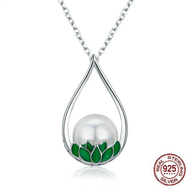 Gorgeous Lotus Pendant Necklace Crafted from Silver and Pearl
