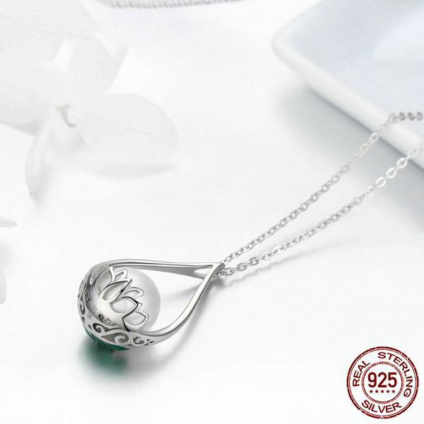 Beautiful Lotus with Pearl - Gorgeous Pendant Necklace Crafted from Silver