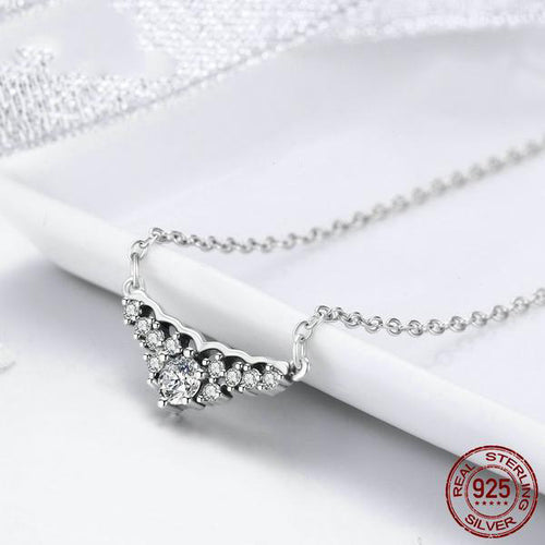 Glittering Like Diamonds - Vintage Style Gorgeous Pendant Necklace crafted with Silver and Diamonds like Crystals
