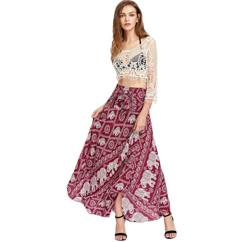 Women's Long Asymmetrical Bottom Bohemian Skirt with Elephant Print and Bow Tie Front