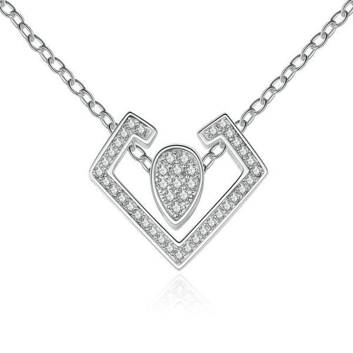 Abstract but Cute Platinum Plated Pendant Necklace with Diamonds like Crystals