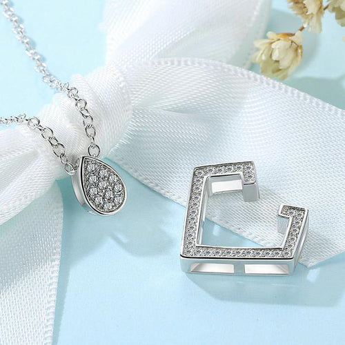 3-in 1 Abstract but Cute Platinum Plated Pendant Necklace with Diamonds like Glittering Crystals