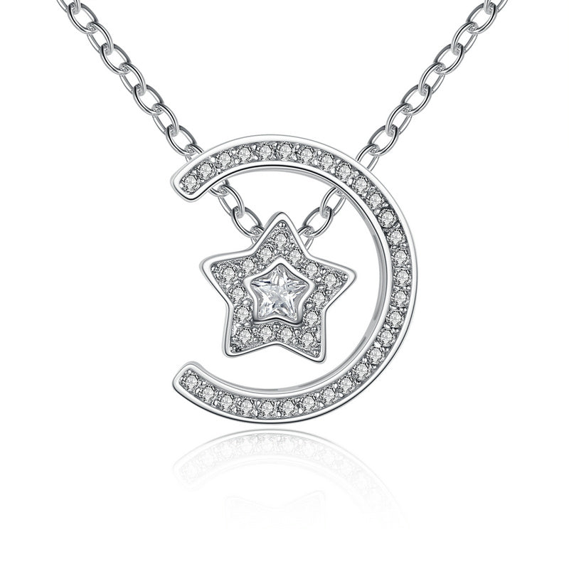 Gorgeous Diamonds like Crystals Studded Star and Moon 3-in-1 Pendant Necklace