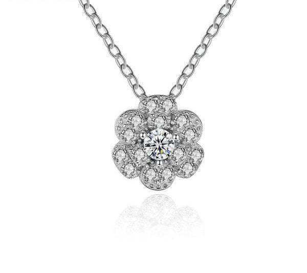 Gorgeous Diamonds like Crystals Studded Moon and Flower 3-in-1 Pendant Necklace