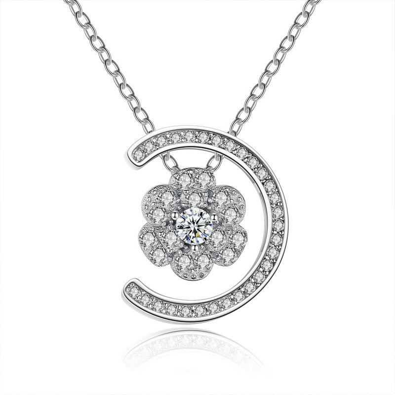 Gorgeous Diamonds like Crystals Studded Moon and Flower Pendant Necklace