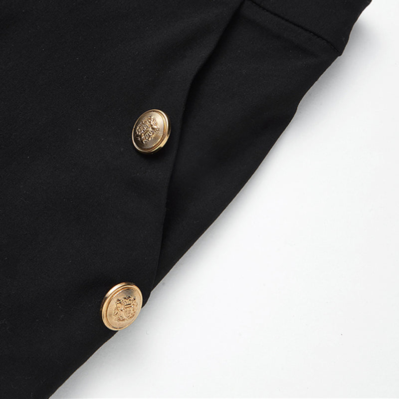 Women's High Waist Black Casual Summer Shorts with Gold Buttons