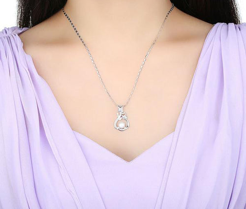 Platinum Plated Vine of Flower Pendant Necklace with Diamonds like Crystals and Pearl