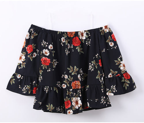 Women's Off-Shoulder Cute and Sexy Floral Print Chiffon Crop Top