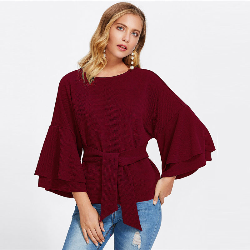 Women's Burgundy Color Round Neck Textured Top with Front Belted and Flare Sleeves
