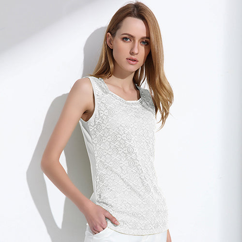 Women's Elegant Round Neck Lace Blouse with Beading