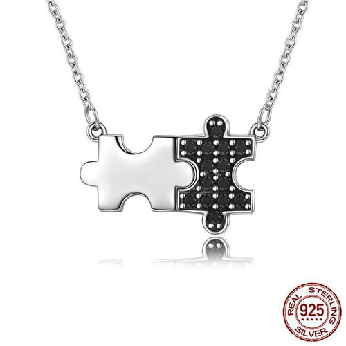 Cute Contrast Jigsaw Pendant Necklace Crafted from Genuine Silver and Black Crystals