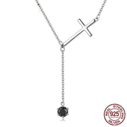 Designer Pendant Necklace with Holy Cross and Black Crystal Crafted from Silver