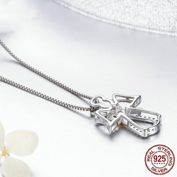 Silver Angel with Golden Heart Pendant with Chain Crafted from Silver and Diamonds like Crystals