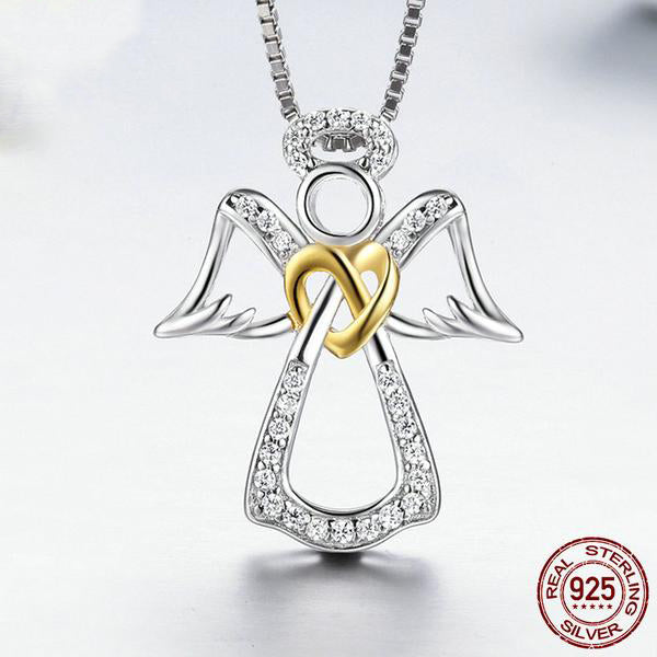 Silver Angel with Golden Heart Pendant Necklace Crafted from Silver