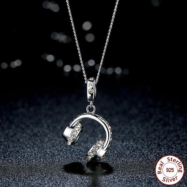 Lovely Crystals Studded Elegant Pendant Necklace in the Shape of an Earphone, Crafted from Silver