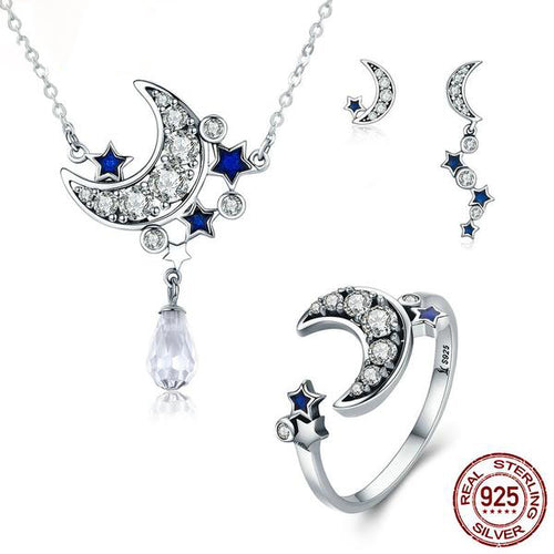 Romantic Starry Night - Cute & Gorgeous Jewelry Set for Women with Diamonds like Crystals