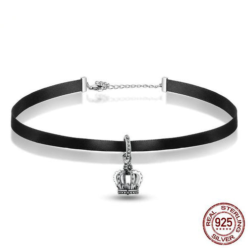 Women's Cute Black Choker Necklace with a Beautiful Crown Silver Pendant