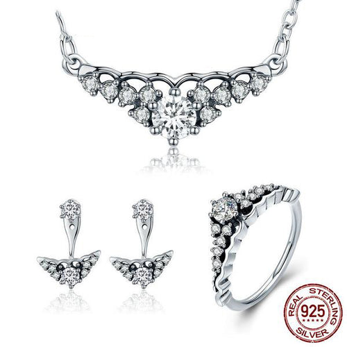Glittering Like Diamonds - Vintage Style Gorgeous Jewelry Set crafted with Silver and Diamonds like Crystals