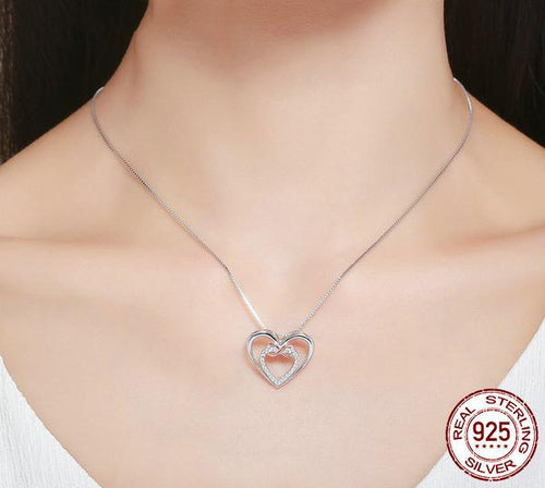 Eternal Love of 2 Hearts - Gorgeous Pendant Crafted from Silver and Diamonds like Crystals