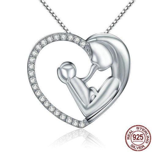 The Ultimate Love Pendant Necklace Crafted from Silver and Diamonds like Crystals
