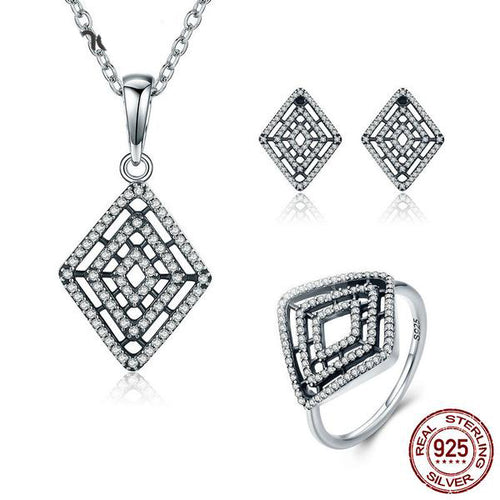 Vintage Style Jewelry Set Crafted from Silver and Diamonds like Crystals