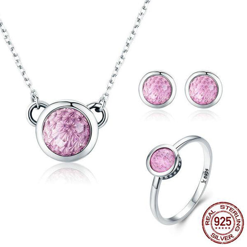 Simple yet Cute Jewelry Set Crafted from Silver and Opalescent Crystals