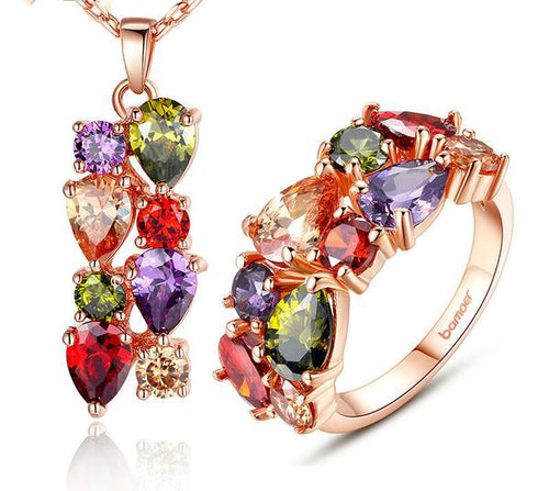 Eye Catching Ring & Necklace Set Crafted with Rose Gold Plated Copper with Colorful Crystals