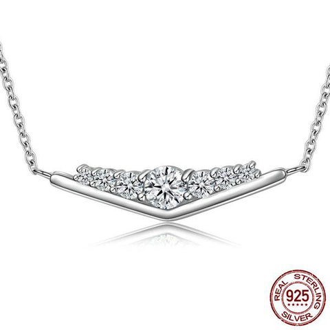 Pendant Necklace Crafted from Silver and Crystals - Freedom of Butterfly and Elegance of Diamonds