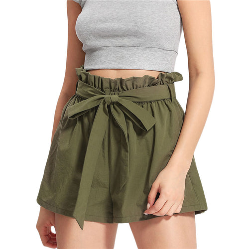 Women's Casual Belted Bow Ruffled High Waist Army Green Shorts