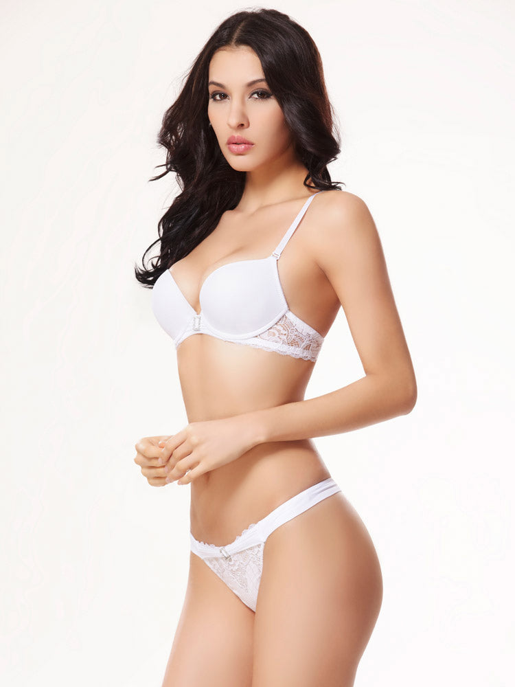 Push Up Sexy Bra Panties Set in Pure White Color