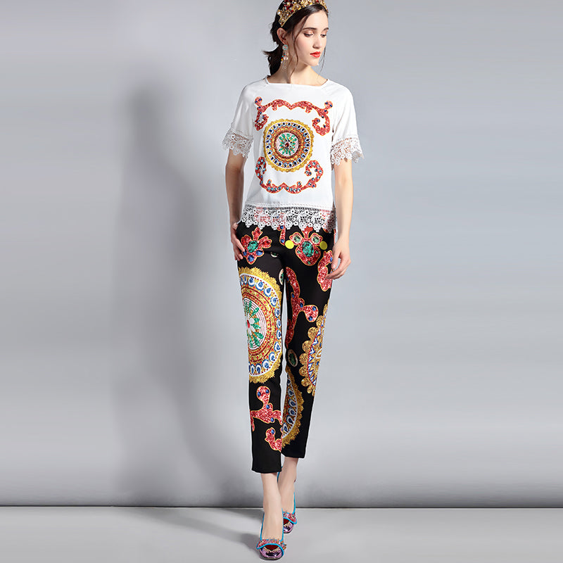 Women's Designer Multi-color Abstract Design 2-Piece Set with Short sleeve Lace Blouses and Pants