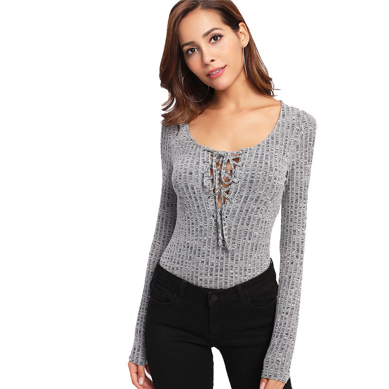 Women's Sexy knitted Full Sleeves Bodysuit with Laced up Front and Round