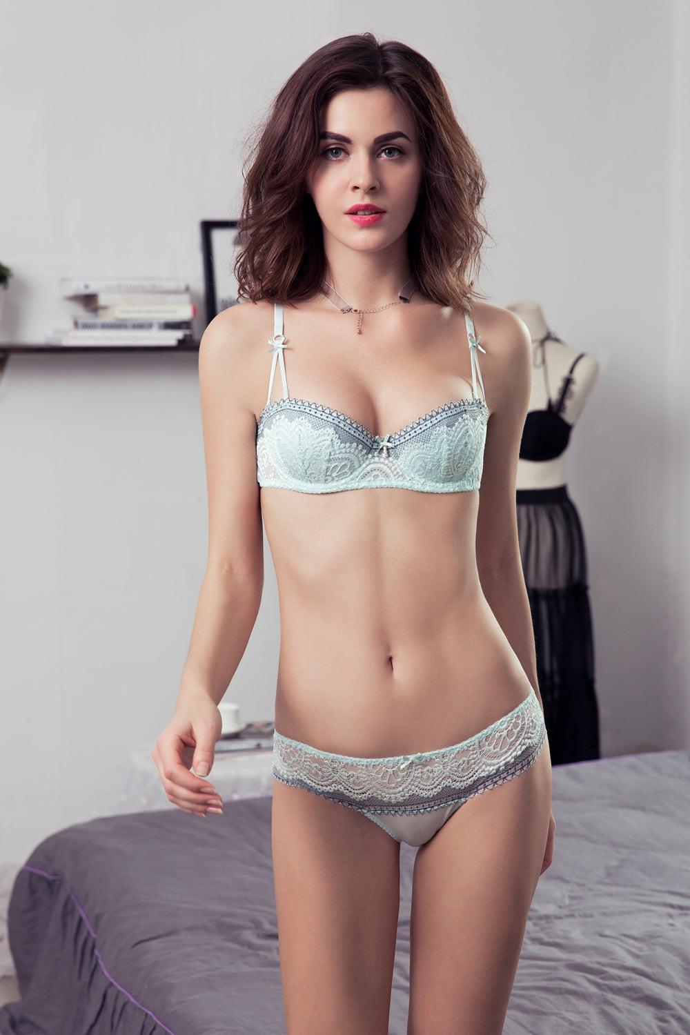 fd984c354420 1 2 Cup Sexy Push-Up Lace Bra and Panties Sets in 2 Colors and 20 ...