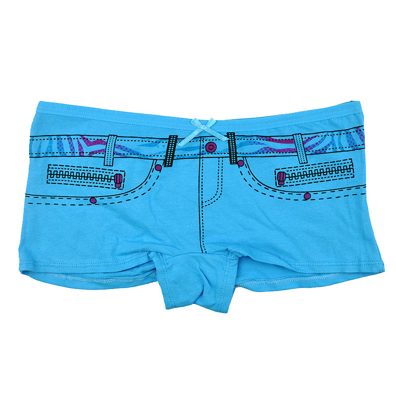 A Pack of 6 Pieces of Women's Denim Printed Cotton Boxers Shorts
