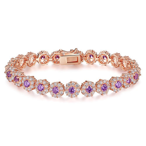 Elegance of Diamonds and Purple Topaz - Gorgeous Gold Plated Bracelets Paved with Brilliant Crystals