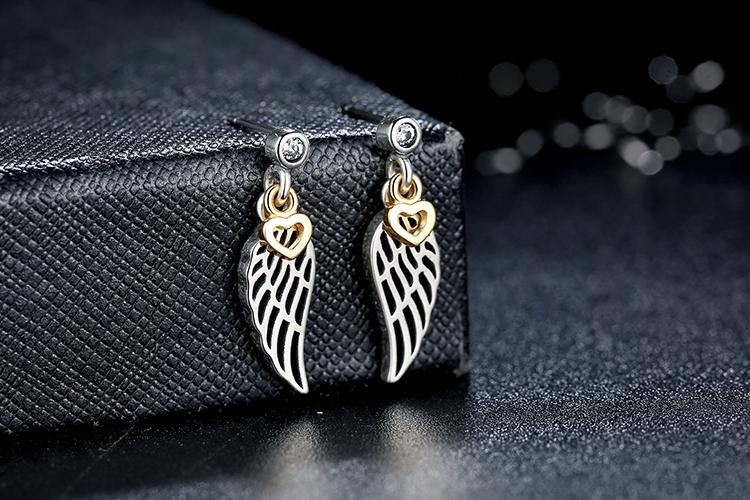 Fly with Love- Gold Color Hearts Dangling with Feather - Earring Crafted from Silver